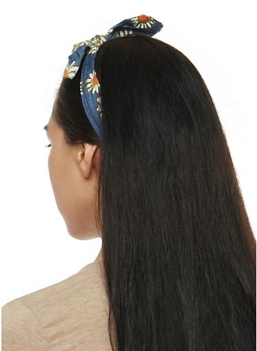 Denim Bow Headband Duo,DENIM,large