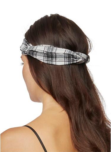 Looped Plaid Headband with Elastic at Back,BLACK,large