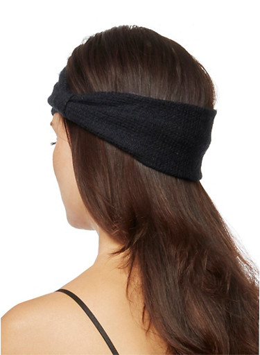 Wide Textural Headband with Knotted Accent,BLACK,large