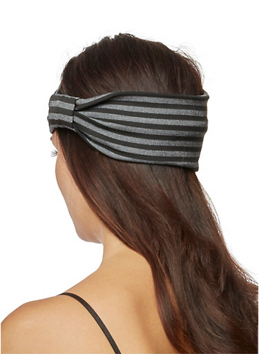 Wide Striped Headband with Knotted Accent,BLACK,large