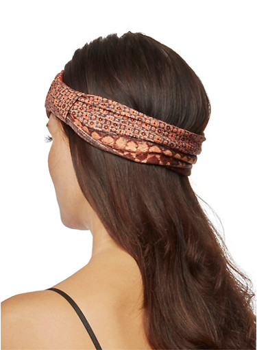 Ornate Printed Wide Headband with Knotted Accent,BROWN,large