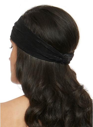 Silk Pleat Knotted Headband,BLACK,large