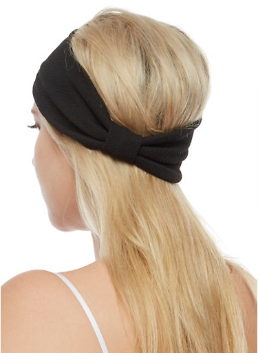 Textured Knit Big Bow Headwrap,BLACK,large