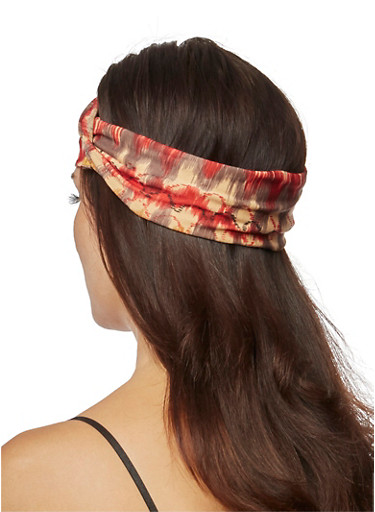Ikat Print Headband With Knotted Accent,RUST,large