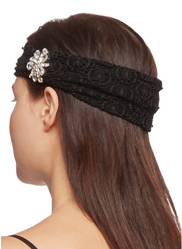 Wide Crochet Headband with Jewel Accent,BLACK,large