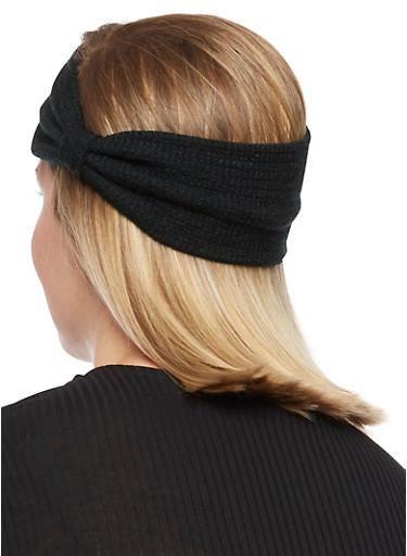 Soft Knit Big Bow Head Wrap,BLACK,large