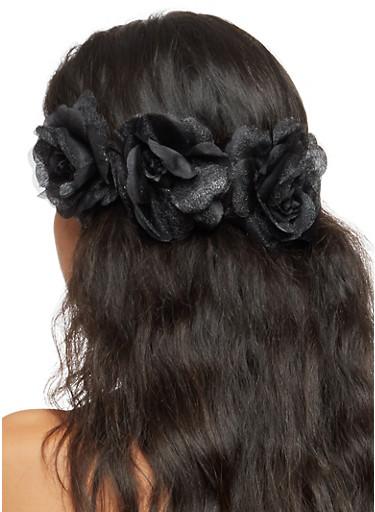 Three Rose Stretch Headband,BLACK,large