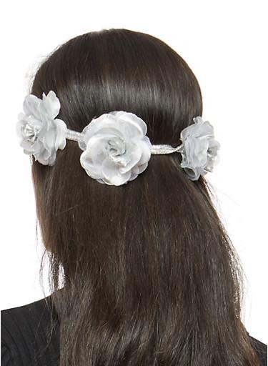 Flower Trio Headband,SILVER,large