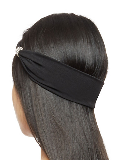 Set of Two Satin Headwraps with Rhinestone Detail,BLACK,large