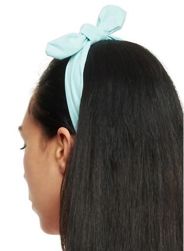 Denim Headband with Bow,MINT,large