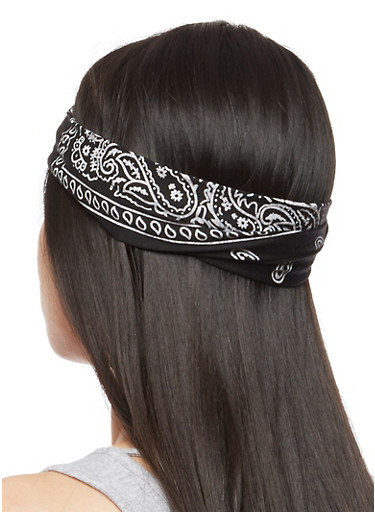 Bandana Print Headband,BLACK/WHITE,large