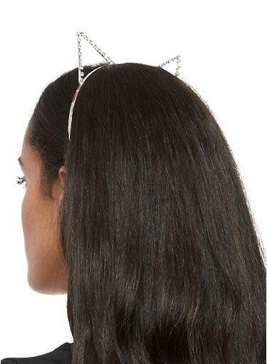 Rhinestone Pointed Cat Ear Headband,SILVER,large