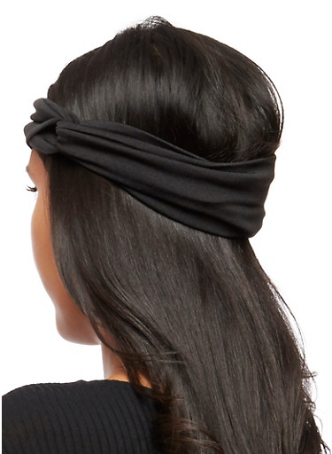 Solid Knotted Headwrap,BLACK,large