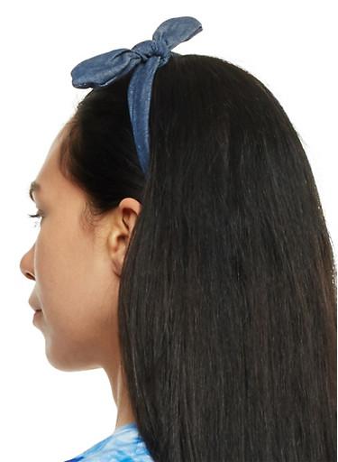 Set of 2 Denim Headbands with Bow,DENIM,large