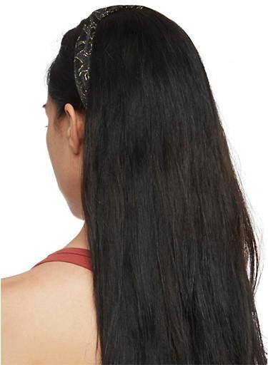Knotted Metallic Chiffon Headband,BLACK,large
