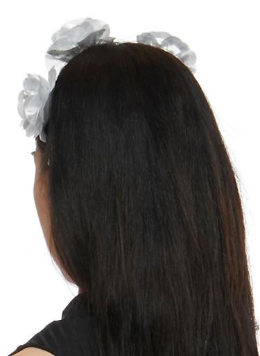 Metallic Flower Headband,SILVER,large