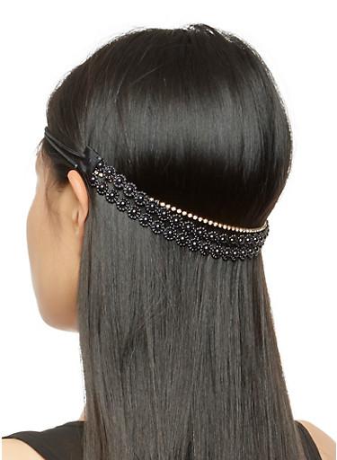 Elastic Flower Beaded Rhinestone Headband,BLACK,large
