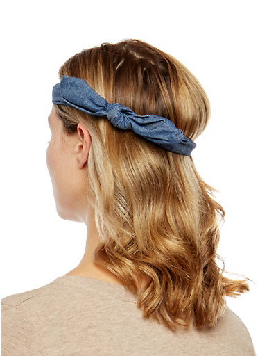 Knotted Denim Headwrap Duo,NAVY,large