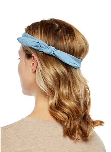 Knotted Denim Headwrap Duo,BLUE,large