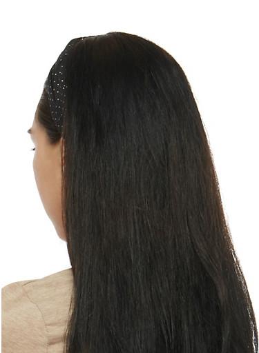 Knotted Metallic Polka Dot Headband,BLACK,large