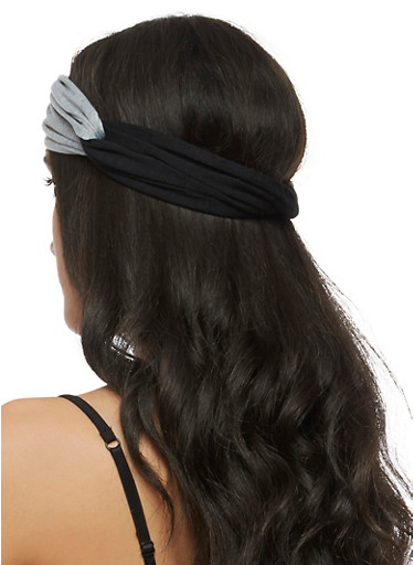Color Block Knotted Headband,BLACK,large