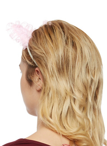 Cat Ear Headband with Ruffle Lace Trim,BLUSH,large