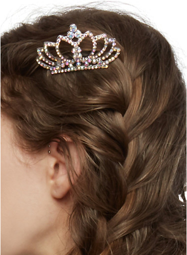 Mini Tiara Comb with Rhinstone Accents,SILVER,large