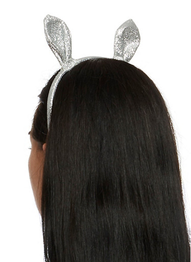 Glitter Bunny Ear Headband,SILVER,large