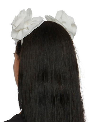 Headband with Rosette Ears,IVORY,large