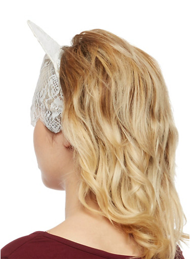 Lace Headband with Kitty Ears and Attached Veil,IVORY,large
