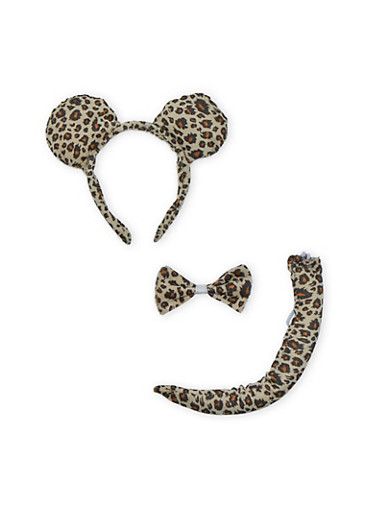 Mouse Ears with Tail and Bow Tie,LEOPARD PRINT,large