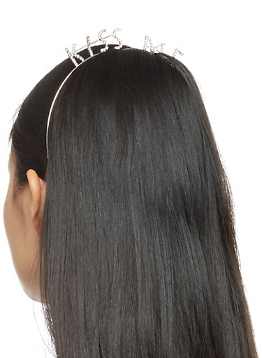 Kiss Me Rhinestone Headband,SILVER,large
