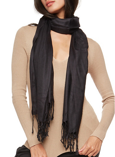 Pashmina Scarf with Fringe,BLACK,large