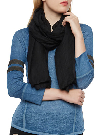 Lightweight Gauzy Scarf,BLACK,large