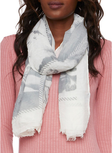 Guazy Scarf with Glamour Girl Print,GRAY,large