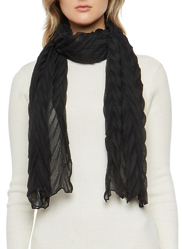 Chevron Crinkle Knit Scarf,BLACK,large