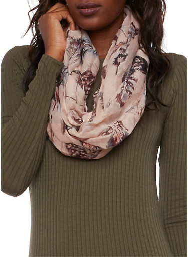 Lightweight Infinity Scarf in Feather Print,BLUSH,large