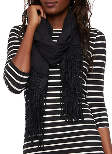 Gauzy Scarf with Crochet Fringe Accents,BLACK,large