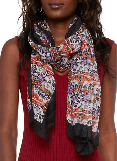Gauzy Scarf in Floral Print,MULTI/BLACK,large