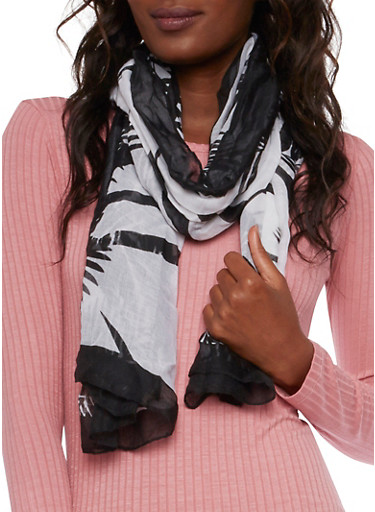 Lightweight Scarf in Fern Silhouette Print,BLACK/WHITE,large