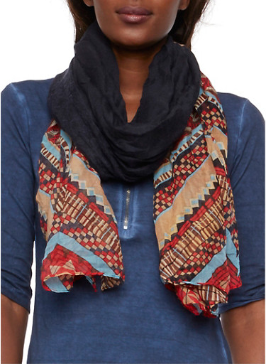 Lightweight Gauzy Scarf in Aztec Print,BLACK/RED,large