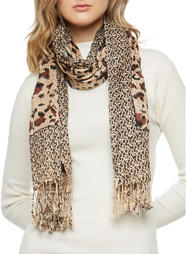 Animal Print Scarf with Fringe,LEOPARD PRINT,large
