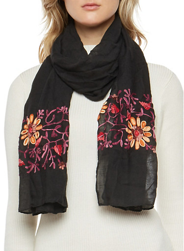 Gauze Knit Floral Embroidered Scarf,BLACK,large