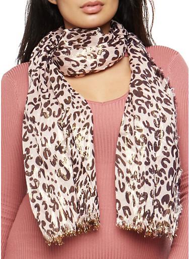 Leopard Print Shimmer Scarf,BLUSH,large