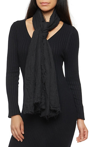 Crinkle Scarf with Frayed Edges,BLACK,large