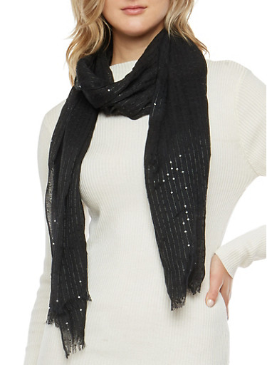 Sequin Knit Scarf,BLACK,large