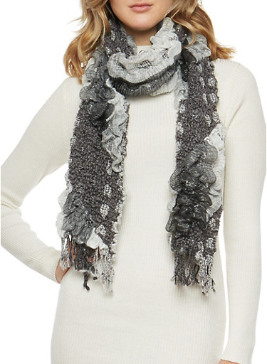 Multi Color Bubble Scarf with Fringe,BLACK,large