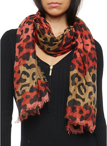 Leopard Print Two Tone Scarf,RUST,large