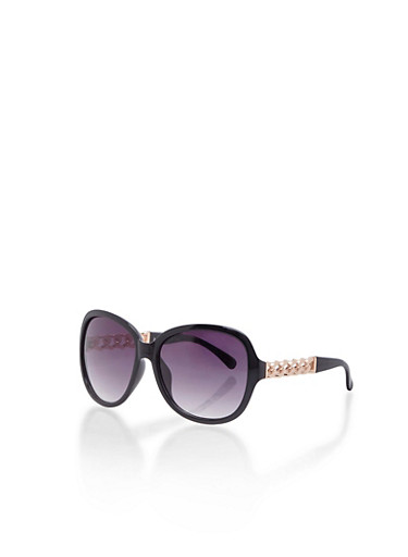 Round Sunglasses with Chainlink Arms,BLACK,large