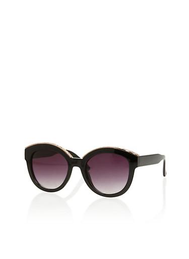 Round Cat Eye Sunglasses with Metallic Brow Trim,BLACK,large